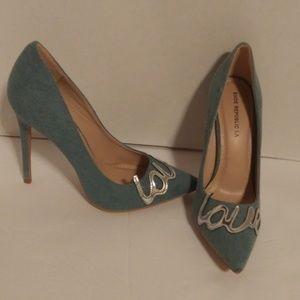 """Blue denim """"Love"""" high heel pumps sz 9"""